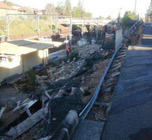 Collapse at Harris Park Station July 2013